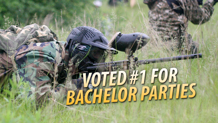 Paintball player taking careful aim