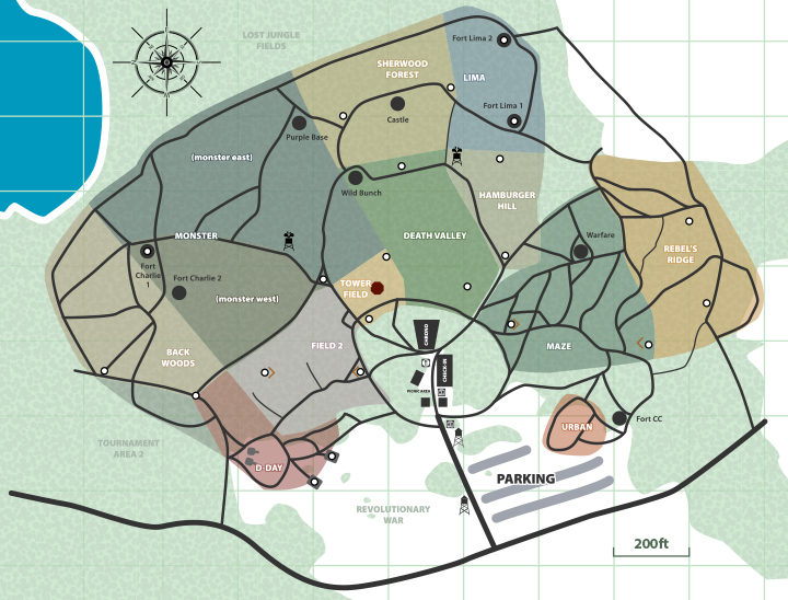 outdoor paintball playing fields