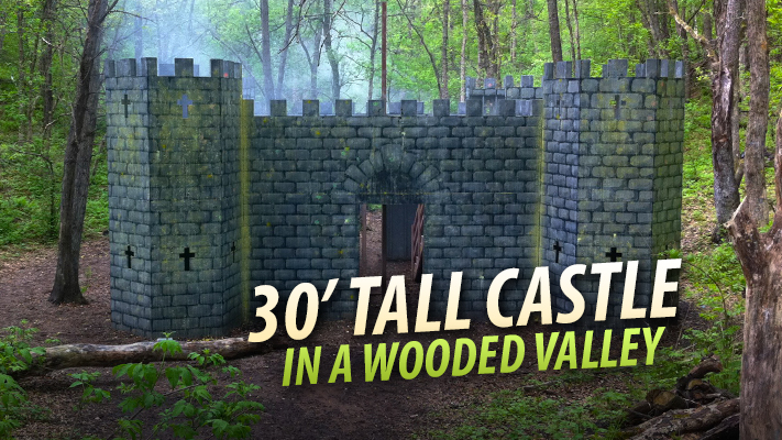 giant 30 foot tall castle paintball course
